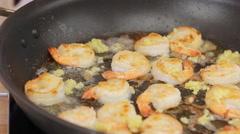 Ramadan recipes celebrating Cream Garlic Shrimp Pasta Spaghetti Recipe Stock Footage