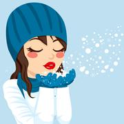 Woman Blowing Snow Christmas Magic Stock Illustration