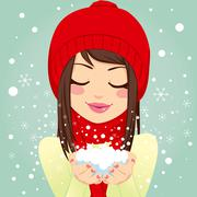 Girl Blowing Snowflakes Stock Illustration