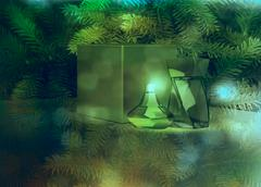 Perfume and gift box on fir tree background. Stock Illustration