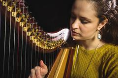 Woman playing a harp in music school Kuvituskuvat
