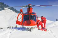 Rescue helicopter team landed Stock Photos