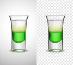 Alcohol  Drinks Colored Glassware Transparent Banners Stock Illustration