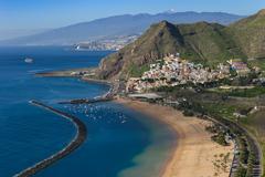 Sanny day in Teresitas beach. Santa Cruz de Tenerife. Canary islands. Spain Stock Photos