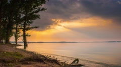 4K sunset beautiful summer landscape with cloudy sky and natural lake Stock Footage