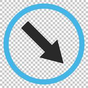 Down-Right Rounded Arrow Vector Icon Stock Illustration