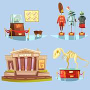 Museum Retro Cartoon 2x2 Flat Icons Set Stock Illustration