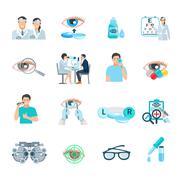 Oculist Ophthalmologist Flat Icons Set Stock Illustration
