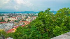 Beautiful view of the capital of Ljubljana in the summer time Stock Footage