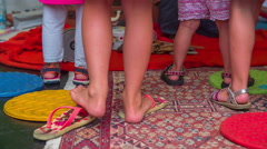 Children's cute shoes and flip-flops Stock Footage