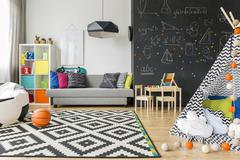 Child room ideal to sleep and play Stock Photos