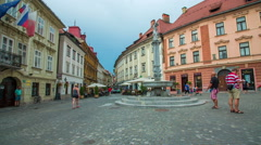 Square of a big town Ljubljana Stock Footage