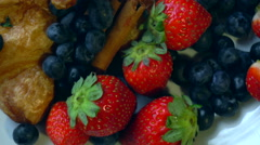Beautiful berries with croissants Stock Footage
