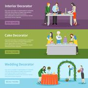 Interior Design Wedding Decoration Banners Set Stock Illustration