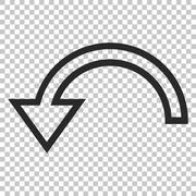 Rotate Left Vector Icon Stock Illustration