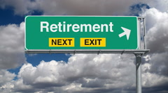 Retirement Next Exit Highway Sign with Time Lapse Clouds and Zoom Stock Footage