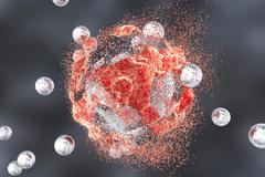 Destruction of a tumor cell by nanoparticles Stock Illustration