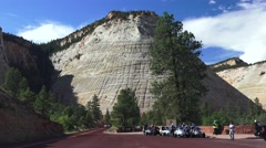 Trike Motorcycle club regrouping, Zion National Park Stock Footage