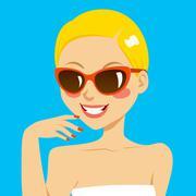 Beautiful Blonde Woman Sunglasses Stock Illustration