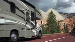 Motorhomes at Zion National Park, Sept 2016, Checker Board Mesa Stock Footage