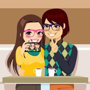 Selfie Couple Photo Stock Illustration