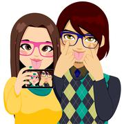 Funny Faces Selfie Stock Illustration