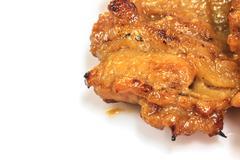 Grilled pork on white Stock Photos