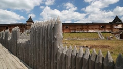 Old wooden fortress in Kyivan Rus park, Kopachiv village, Ukraine Stock Footage