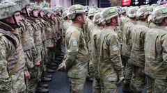 Military personnel in uniform at the military parade in Kiev, Ukraine Stock Footage