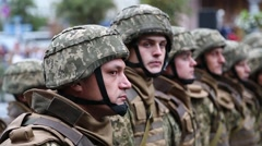 Soldiers in military uniform at the military parade in Kiev, Ukraine Stock Footage
