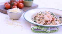 Ramadan recipes celebrating Cream Garlic Shrimp Pasta Recipe Stock Footage