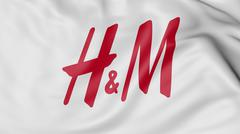 Close up of waving flag with H&M logo, 3D rendering Stock Illustration