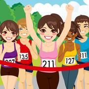 Female Athlete Runner Winning Stock Illustration
