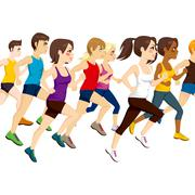 Group Of Athletes Running Stock Illustration