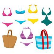 Fashion Swim Wear And Accessories Stock Illustration