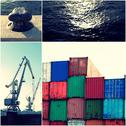 Container in port with cranes and pier and sea water collage of toned images Stock Photos