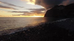Beach of Camara De Lobos, Madeira at sunset Stock Footage