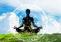 Yoga posture meditation on the grass Piirros