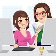 Graphic Designer And Assistant Stock Illustration