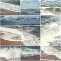 Collage of summer beach and sea images. Summertime nature toned set of pictures Stock Photos