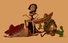 Mexican Girl and Two Men After a Fight Stock Illustration