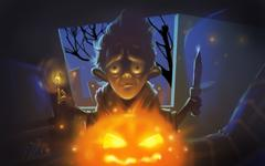 Halloween Creepy Man with Pumpkin Illustration Stock Illustration