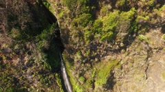 Aerial view of waterfall and ocean in Madeira island Stock Footage