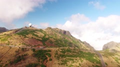 Panoramic view Pico do Arieiro, Madeira aerial view Stock Footage