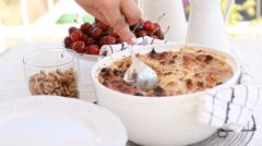 Ramadan recipes celebrating For Eid al-Fitr, Um Ali, Egyptian Bread Pudding Stock Footage