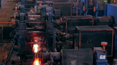 Ironworks plant. Working Machines. Borning Hot Beams. Steam Stock Footage