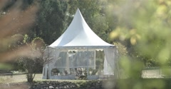 Beautiful white tent in the garden Stock Footage