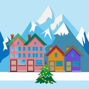 Christmas Tree in the Yard Stock Illustration