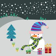 Snowman and Christmas Tree Greeting Card Stock Illustration