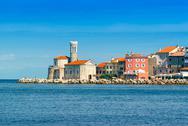 Piran, beautiful medieval town on Slovenia Adriatic coast Stock Photos